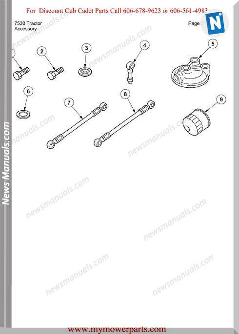 Cub Cadet Parts Manual For Model 7530 Tractor