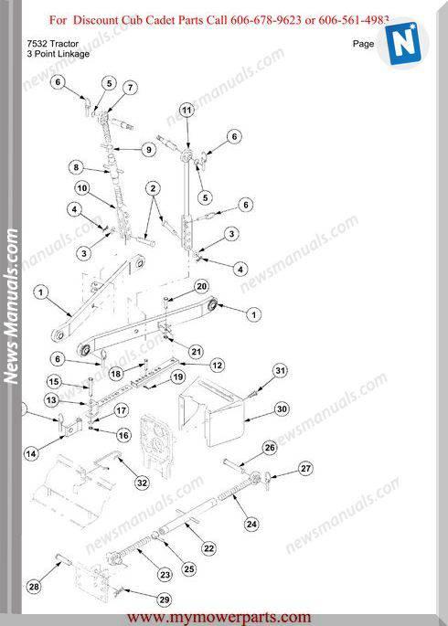 Cub Cadet Parts Manual For Model 7532 Tractor
