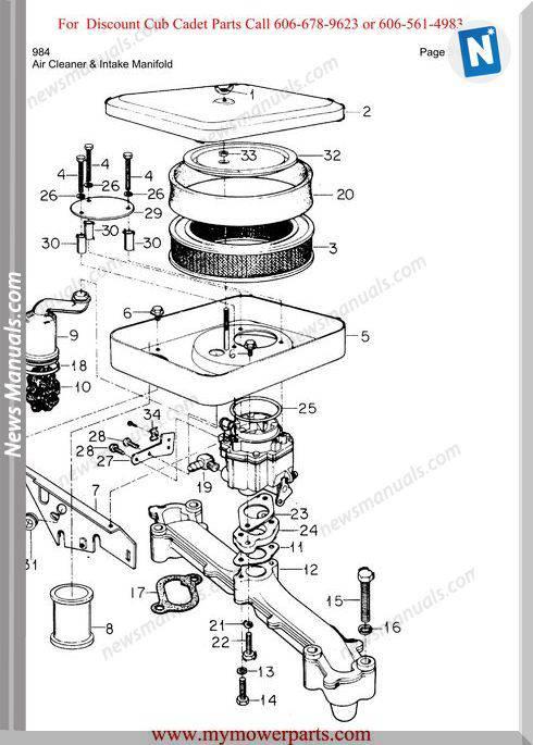 Cub Cadet Parts Manual For Model 984