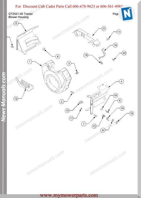 Cub Cadet Parts Manual For Model Gt2521 48 Tractor