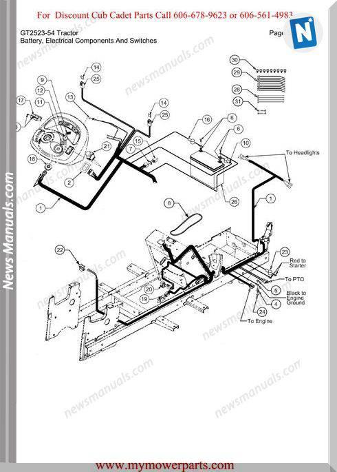 Cub Cadet Parts Manual For Model Gt2523 54 Tractor
