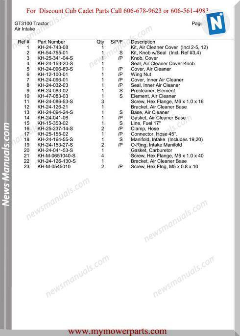 Cub Cadet Parts Manual For Model Gt3100 Tractor