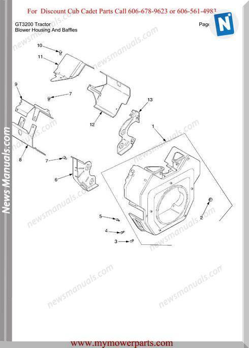 Cub Cadet Parts Manual For Model Gt3200 Tractor