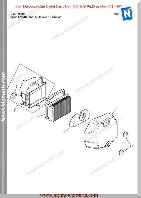 Cub Cadet Parts Manual For Model I1042 Tractor