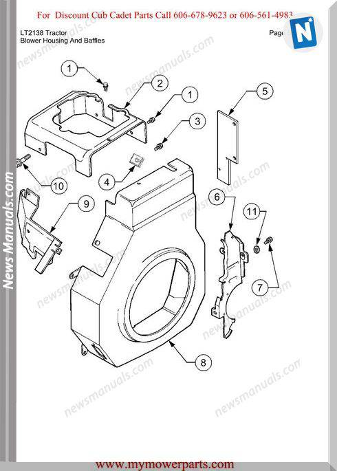 Cub Cadet Parts Manual For Model Lt2138 Tractor