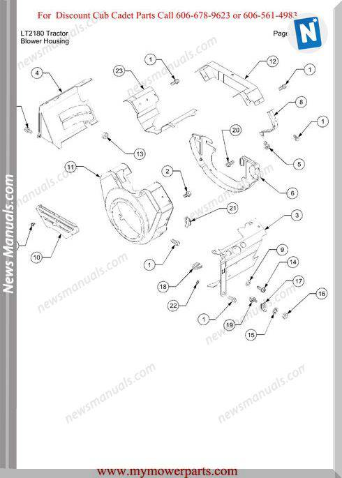 Cub Cadet Parts Manual For Model Lt2180 Tractor