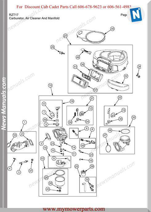 Cub Cadet Parts Manual For Model Rzt17