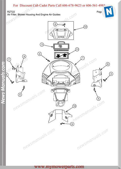 Cub Cadet Parts Manual For Model Rzt22