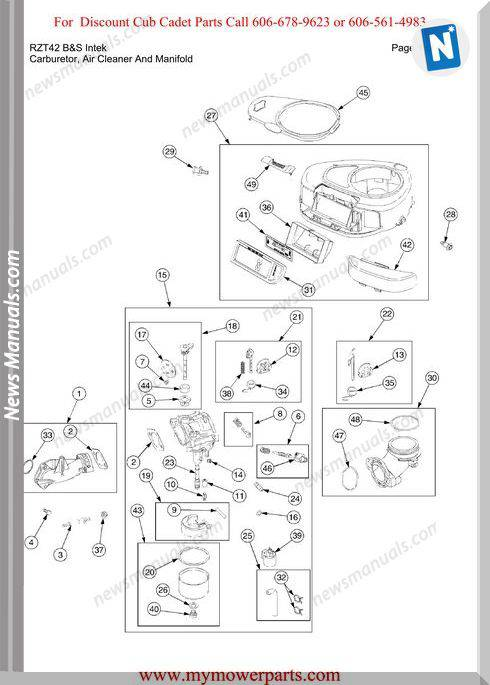 Cub Cadet Parts Manual For Model Rzt42 Bands Intek