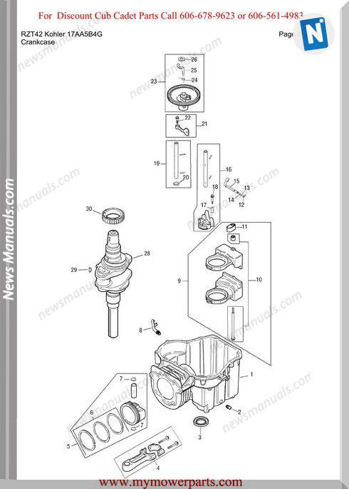Cub Cadet Parts Manual For Model Rzt42 Kohler 17Aa5B4G