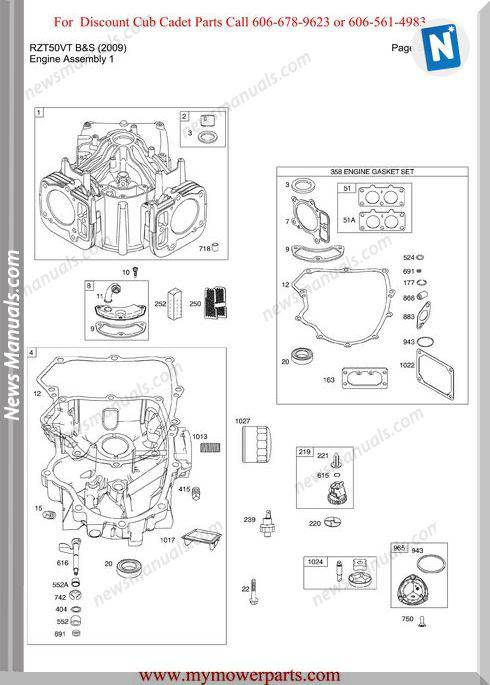 Cub Cadet Parts Manual For Model Rzt50Vt Bands 2009