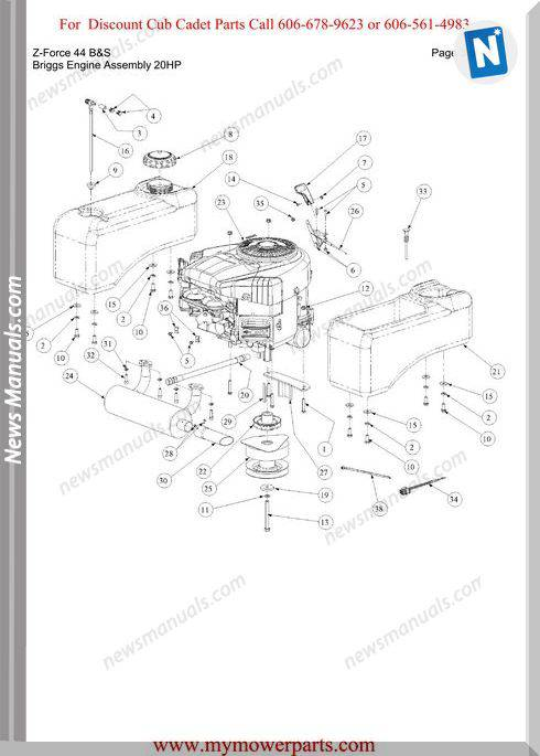 Cub Cadet Parts Manual For Model Z Force 44 Bands