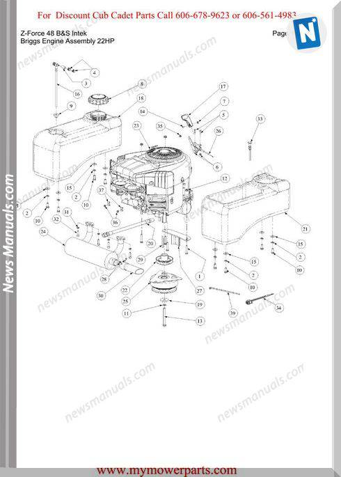 Cub Cadet Parts Manual For Model Z Force 48 Bands Intek