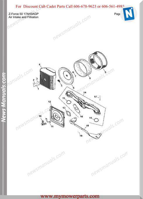 Cub Cadet Parts Manual For Model Z Force 50 17Ah3Agp