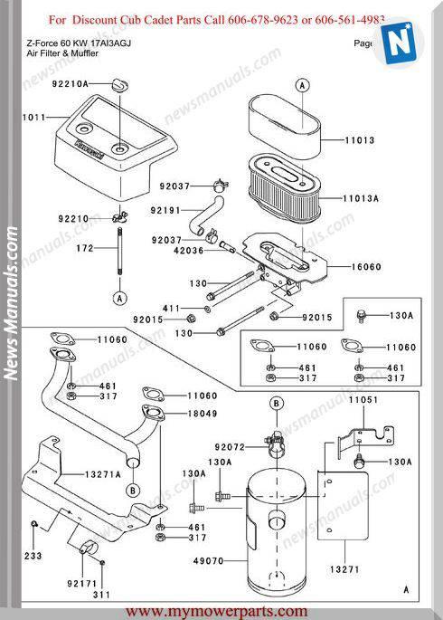 Cub Cadet Parts Manual For Model Z Force 60 Kw 17Ai3Agj