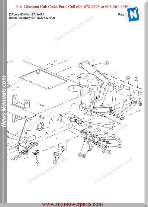 Cub Cadet Parts Manual For Model Z Force 60 Kw 17Ai3Agj