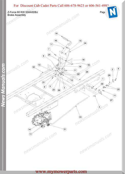 Cub Cadet Parts Manual For Model Z Force 60 Kw 53Aa5Dbj