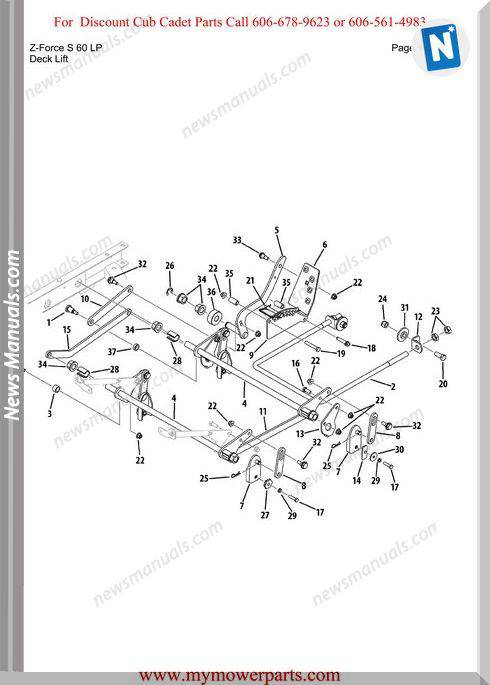 Cub Cadet Parts Manual For Model Z Force S 60 Lp