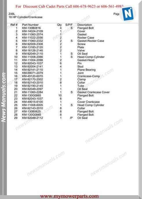 Cub Cadet Parts Manual For Model Z48L