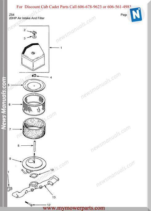 Cub Cadet Parts Manual For Model Z54