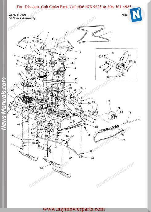 Cub Cadet Parts Manual For Model Z54L 1999