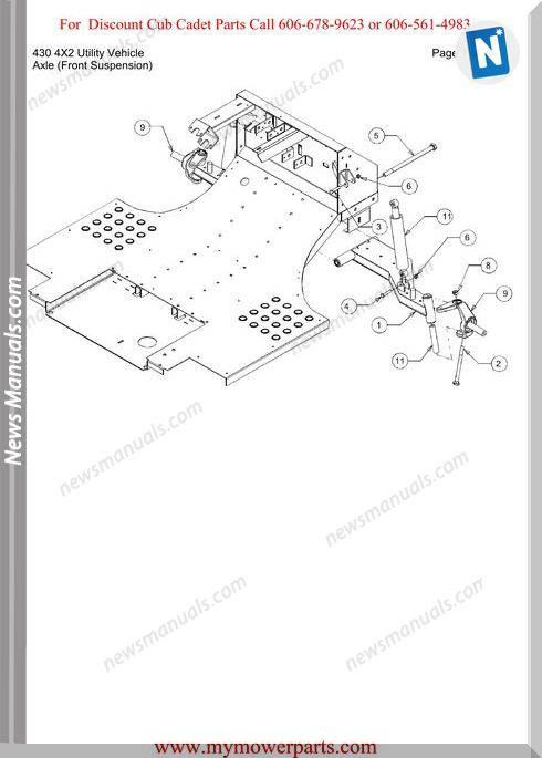 Cub Cadet Parts Manual430 4X2 Utility Vehicle