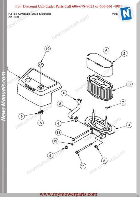Cub Cadet Rzt54 Kawasaki 2008 And Before Parts Manual