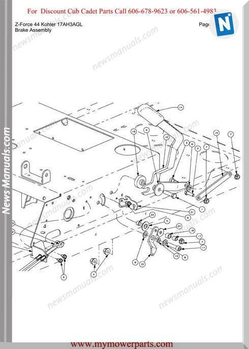 Cub Cadet Z Force 44 Kohler 17Ah3Agl Parts Manual