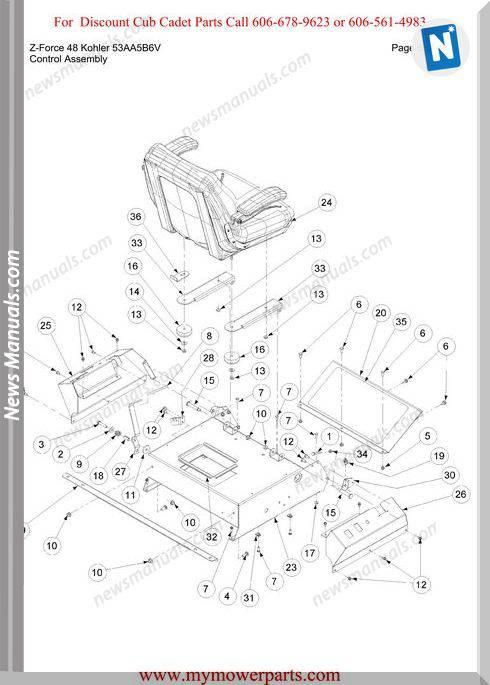 Cub Cadet Z Force 48 Kohler 53Aa5B6V Parts Manual