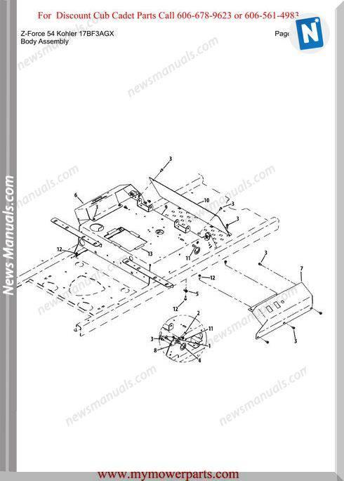 Cub Cadet Z Force 54 Kohler 17Bf3Agx Parts Manual