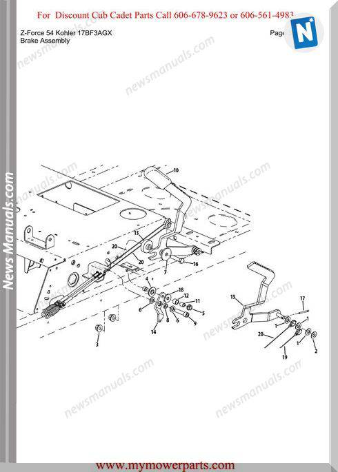 Cub Cadet Z Force 54 Kohler 17Bf3Agx Parts Manual