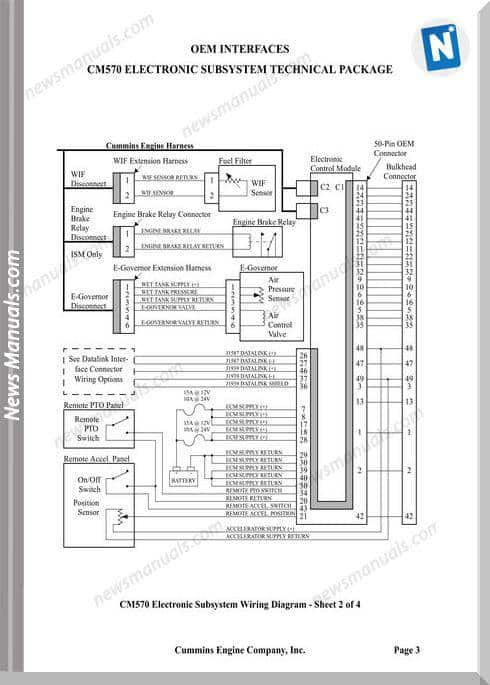 Cummins Cm570 Electronic Subsytem Wiring Diagram