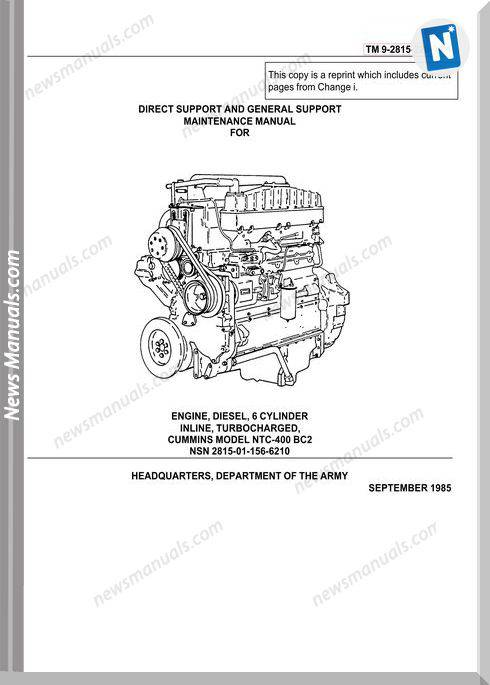 Cummins Engine Diesel Model Ntc 400 Bc2 Service Manual