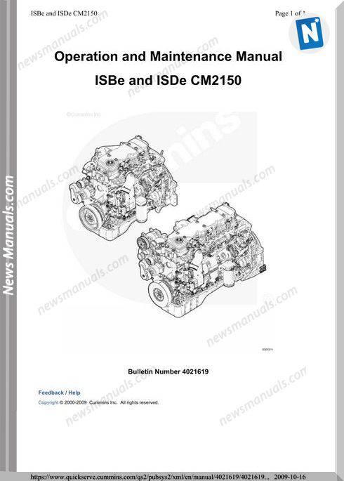 Cummins Isbe Isde Cm2150 Engine Operation Maintenance