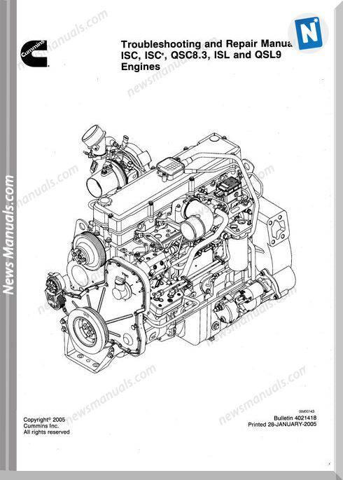 Cummins Isc Qsc83 Isl And Qsl9 Engines Repair Manual