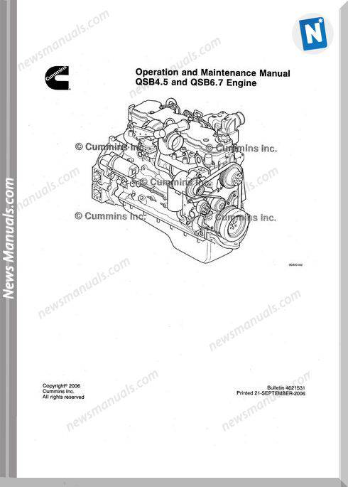 Cummins Qsb45 67 Operation Maintenance Manuals