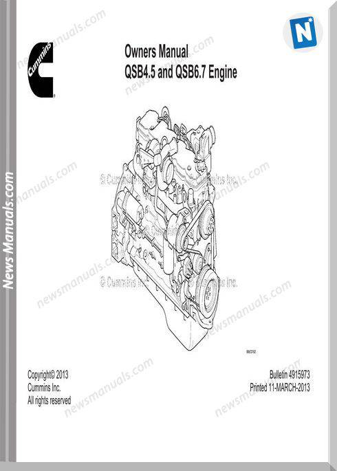 Cummins Qsb45 Qsb67 Engine Owners Manual