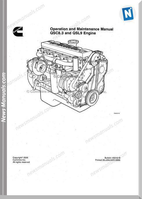 Cummins Qsc83 Qsl9 Engine Operation Maintenance Manual