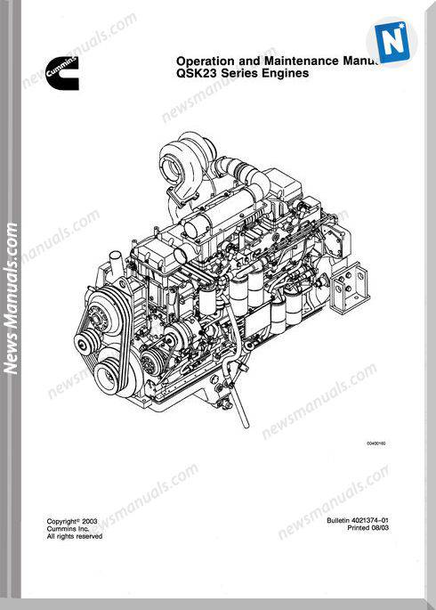 Cummins Qsk23 Maintenance And Operation Manual