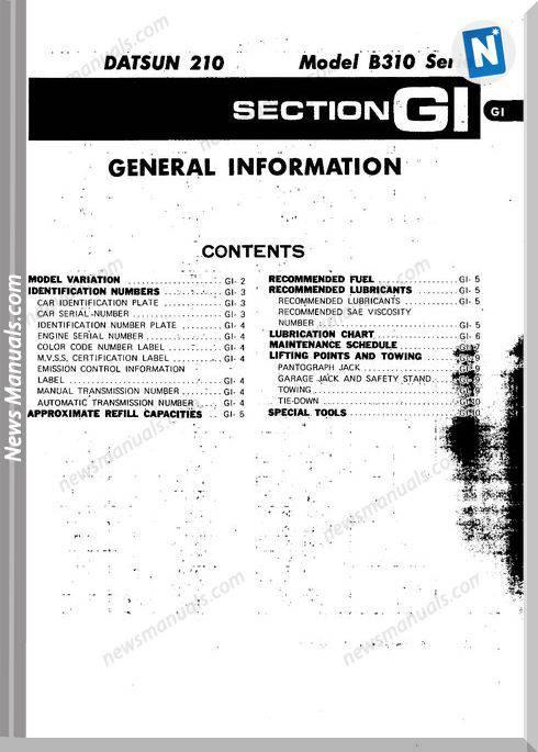 Datsun 210 1979 Service Manual