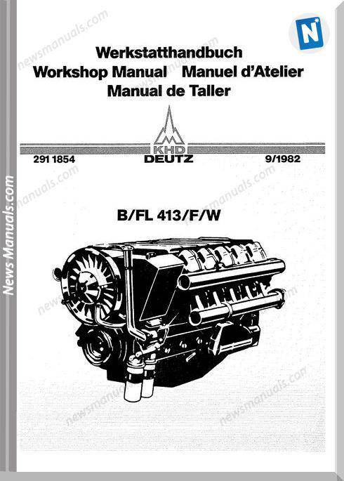 Deutz Engine B,Fl413,F,W Workshop Manual