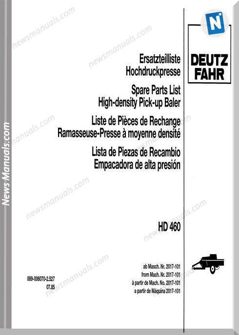 Deutz Hd-460 Parts Manual German