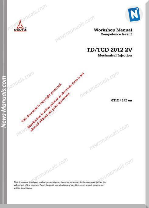 Deutz Td,Tcd 2012 2V Workshop Manual
