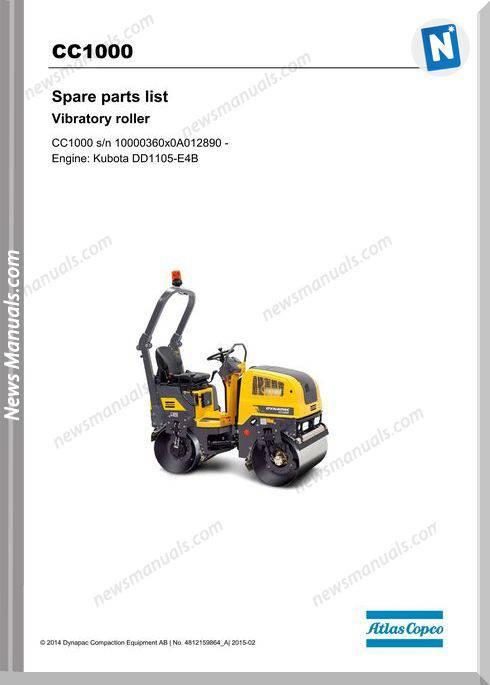 Dynapac Model Cc1000 Vibratory Roller Parts Manuals