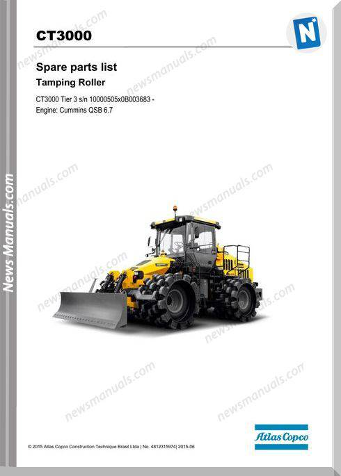 Dynapac Model Ct3000 (T3) Spare Parts Catalogue