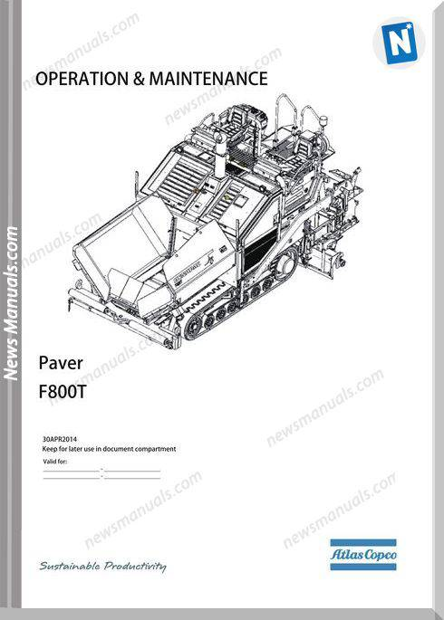 Dynapac Model F800T Tracked Paved Maintenance Manual
