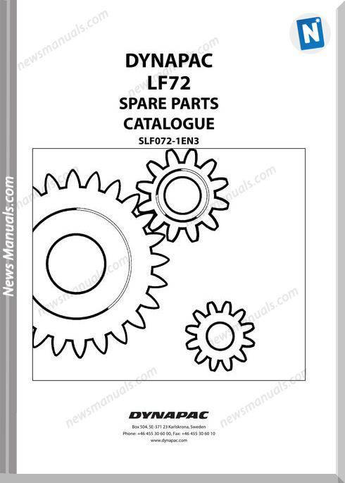 Dynapac Model Lf72 Parts Manuals