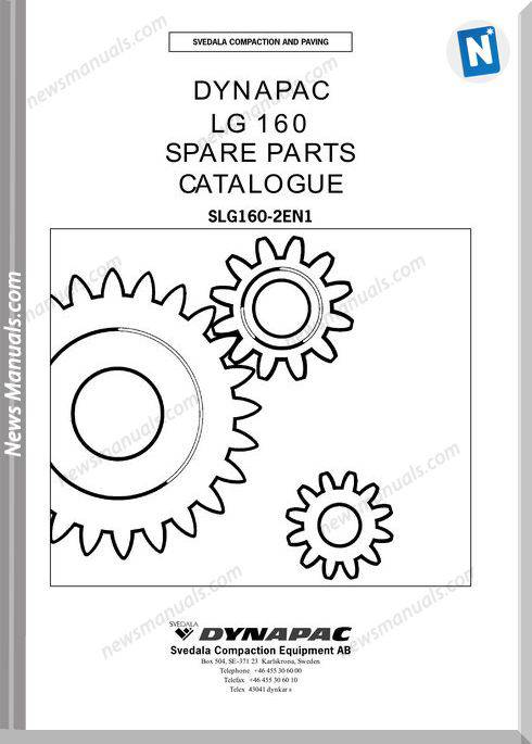 Dynapac Model Lg160 Parts Manuals