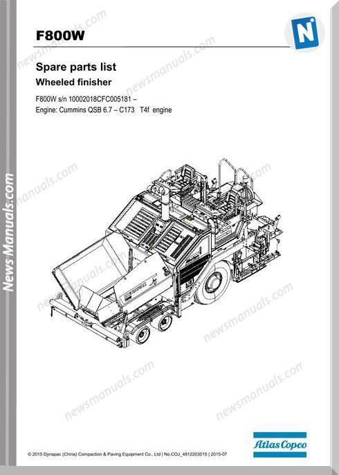 Dynapac Model Paver F800W Parts Manuals