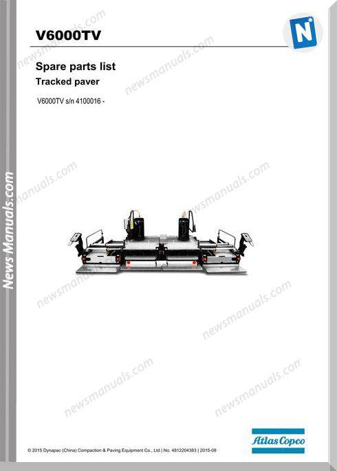 Dynapac Model Tracked Paver V6000Tv Parts Manuals
